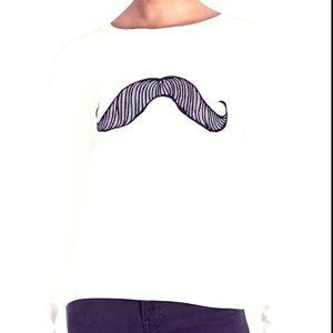 Wildfox Women White Mustache Pullover Sweater M